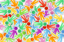 illustration of a lot of different color paper peoples on background